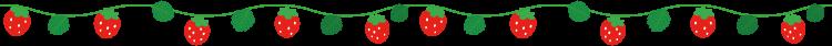 イチゴのイラストライン線(枝つき)